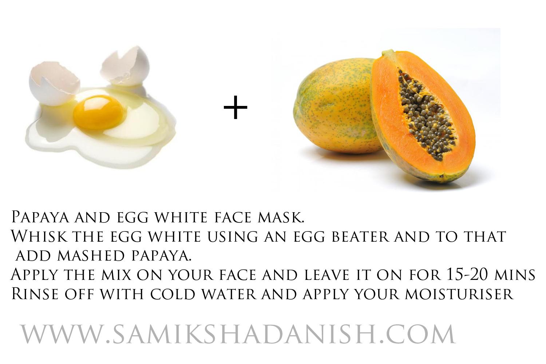 papaya and egg white skin lighting face mask